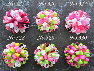 "30 BLESSING Good Girl B Loopy Puffs Ribbon 2.5/"" Hair Bows Elastic 78 No."