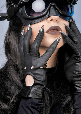 Catwoman Style Black Gloves with Claws
