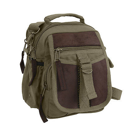 Travel Shoulder Bag Leather and Canvas Olive Drab Green Rothco 2835 b38e5835cddf9