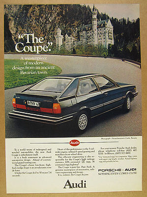 1981 Audi Coupe blue car Neuschwanstein Castle photo vintage print Ad