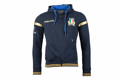 Macron Italy 2017/18 Players Heavy Cotton Hooded Rugby Sweat Top Sports Training