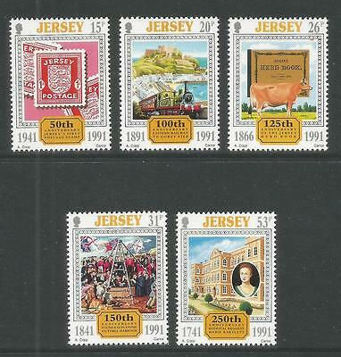 Jersey 1991 Local Anniversaries--Attractive Topical (563-67) MNH