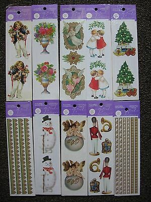 Lot 10 PKGs 20 sht Gifted Line Stickers Flowers Angels Christmas Borders Snowman