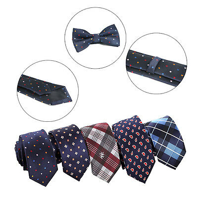 Men's fashion Silk Poly business wedding party slim necktie hanky & bow tie set