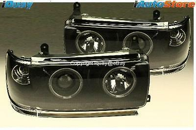 Toyota Landcruiser 80 Series Angel Eyes Projector HeadLights w/ LED DRLs BLACK