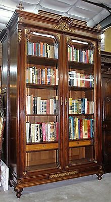 Antique Louis XVI  French Mahogany and Bronze Bookcase Display Cabinet