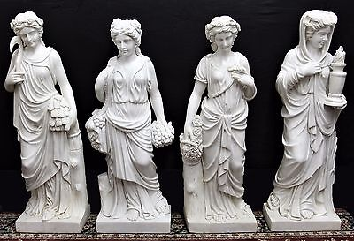 Four Seasons Set of 4 Hand Carved Italian Carrara Marble