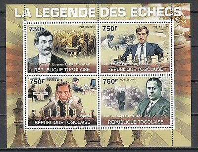 Togo, 2010 issue. Legends of Chess on a sheet of 4.
