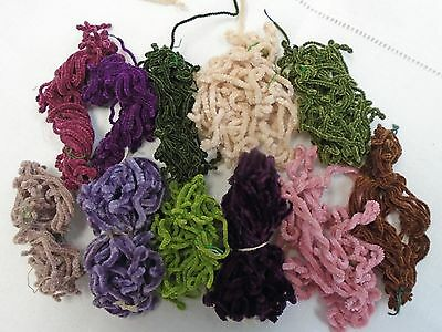 """Antique Silk Chenille Thread For Embroidery - 11 Colors / Hanks - 1/16"""" Wide"""