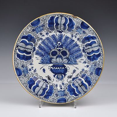 "A Delft Blue And White 18th Century Charger With A ""Peacock Design"""