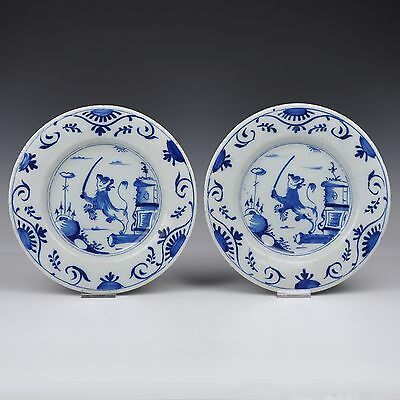 A Rare Pair Of Delft Blue And White18th Century Plates With Dutch Lions