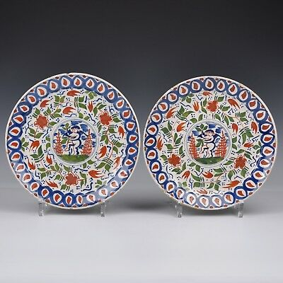 A Pair Of Very Rare Delft Polychrome 18th Century Cupido Plates