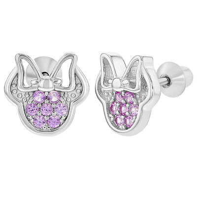 925 Sterling Silver Pink CZ Mouse Bow Screw Back Earrings for Children