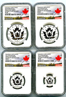 2017 Canada Silver 150Th Anniv Ngc Pf70 Reverse Proof Maple Leaf 4 Coin Set - Fr
