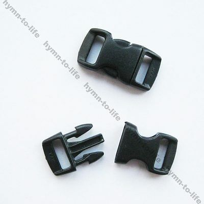 "500 sets 3/8"" Black plastic Buckles For Bracelets Side Release M067B-10-500"