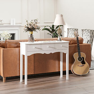 NEW Entrance Dressing Console Table with 3 Storage Drawers in White