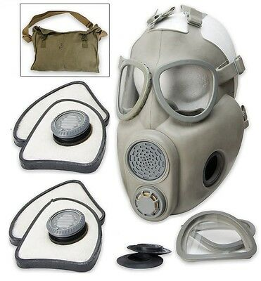 Czech Military M10 NBC Gas Mask w/2 Filter Sets, Carry Bag - New Factory Sealed