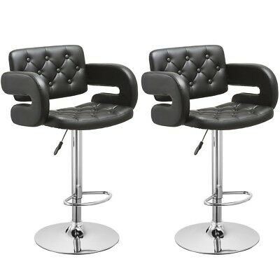 PU Leather Adjustable Pub Chair Bar Stool 360 Swivel Chair Black/White Set of 2