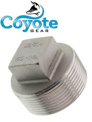"10 Pack Lot 1-1/2"" NPT 304 Stainless Square Head Pipe Thread Plug Coyote Gear SS"