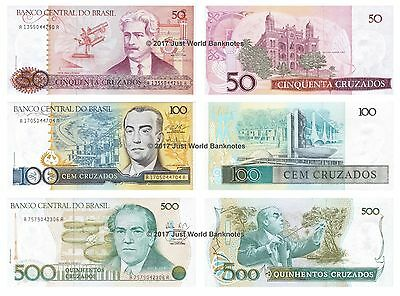 Brazil 50 + 100 + 500 Cruzados 1986-88 Set of 3 Banknotes 3 PCS UNC