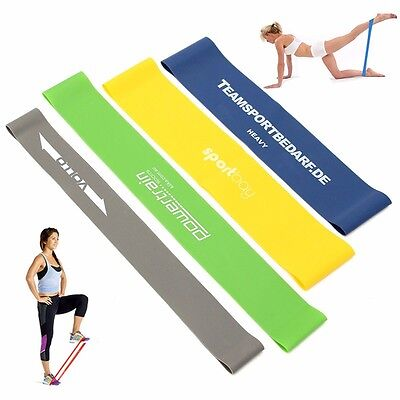 4pcs Tension Exercise Loop Gym Yoga Resistance Band Strength Crossfit Training