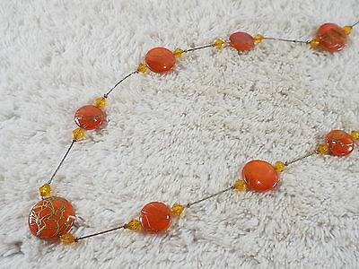 Long Silvertone Gold Orange Shell Disk Bead Necklace (A71)