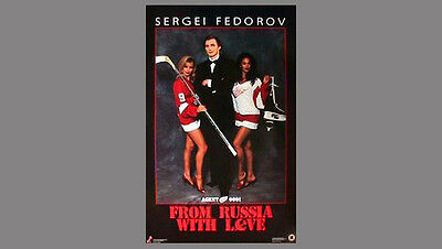 Rare Sergei Fedorov FROM RUSSIA WITH LOVE Detroit Red Wings 1992 Costacos POSTER