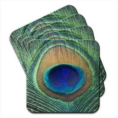 Peacock Feather Set of 4 Coasters
