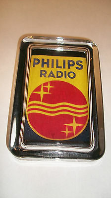 Philips RADIO Colorful Red Yellow Advertising Sign Logo Glass Paperweight