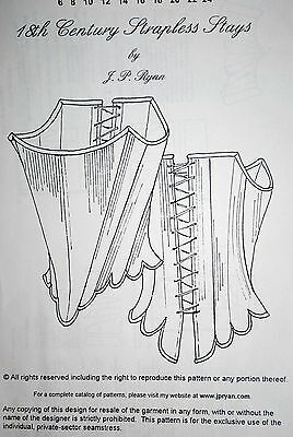 "NEW 18th CORSET sewing pattern UNCUT by JP Ryan -fully boned 46"" bust"