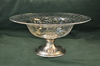 """Hawks Cut Crystal Sterling Silver Footed Centerpiece Bowl 12.5"""" Diameter"""