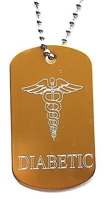 Diabetic, SOS Medical Alert ID Gold Tag + Stainless Steel Chain (P1)