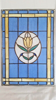 Contemporary Leaded Blue Glass Window Panel with Tulip Pattern & White Border