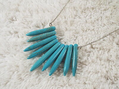 OURWORLD Silvertone Blue Howlite Stone Spike Pendant Necklace (A71)
