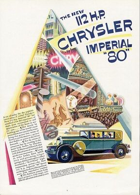 CHRYSLER IMPERIAL 80 Auto Car Ad 1928 4 Door Sedan 112 hp ART DECO Style