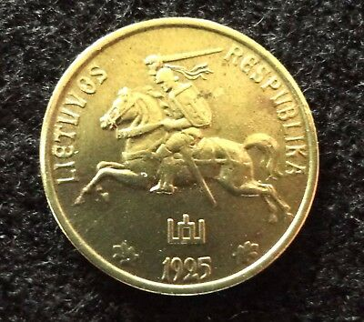 Lithuania 1925 1 Centas Coin  Knight on Horse