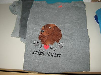 New I Love My Irish Setter Embroidered T-Shirt Add Name For Free