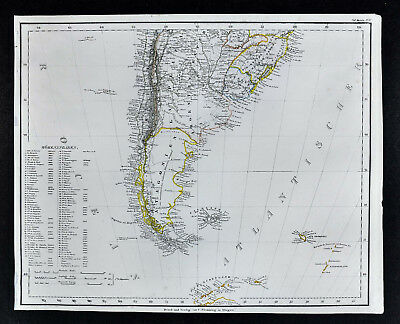 1847 Flemming Map - Patagonia Argentina Chile Chili Buenos Aires Uruguay Brazil