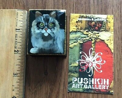 Pushkin Art Gallery Small Trinket Box Long Haired Gray Cat