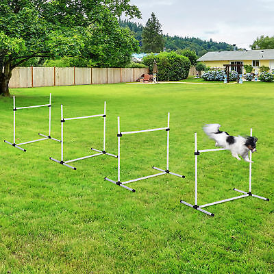 New Canine Agility Set Dog Jumping Training Obstacles Course Free Standing