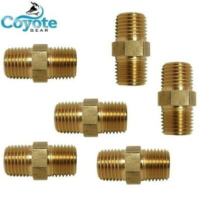 6 Pack Lot 3/8 NPT Brass Hex Nipple Fitting Male Pipe Air Fuel Water Coyote Gear