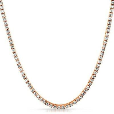 925 Silver Rose Gold 3mm CZ Iced Out Tennis Chain