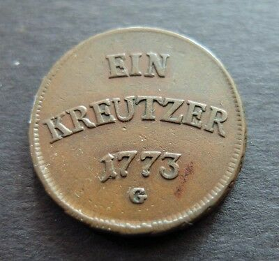 1773G Germany Free City 1 Kreuzer Coin, Circulated Condition, Lot #476