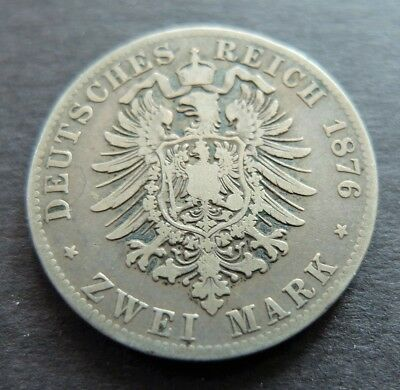 1876D Silver German States Bavaria 2 Mark Coin, Circulated Condition, Lot #480