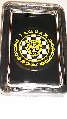 JAGUAR Luxury Sports Car British Advertising Sign Label Logo GLASS PAPERWEIGHT