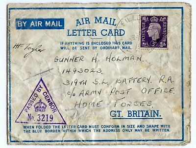 GREAT BRITAIN MILITARY AEROGRAMME, MIDDLE EAST FORCES CENSOR No. 3219   (H71)