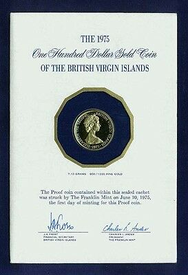 British Virgin Islands  1975 100 Dollars Proof Gold Coin, In Original Packaging!