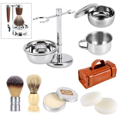 Universal Hair Shaving Brush Razor Stand Holder Set Mug Cup Bowl Soap Travel Set
