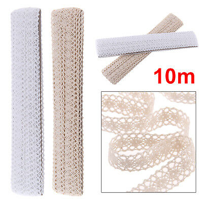 10m Cotton Crochet Lace Edge Trim Ivory/White Ribbon Sewing Crafts Tailor DIY