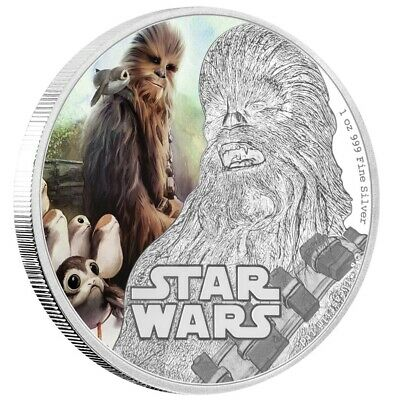 Niue 2 Dollar 2017 The Last Jedi Chewbacca Star Wars 1 Oz